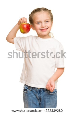little girl with fruits and vegetables on white - stock photo