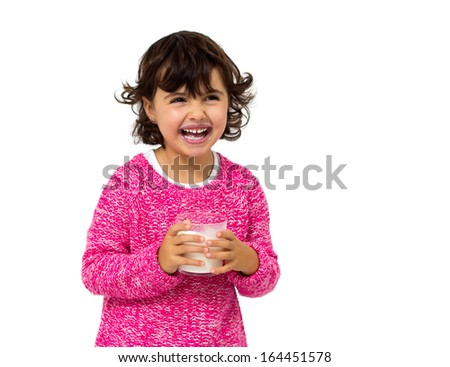little girl with glass of milk isolated on white