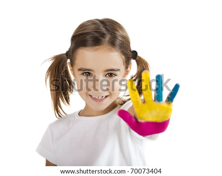 Little girl with hand painted, isolated on white - stock photo
