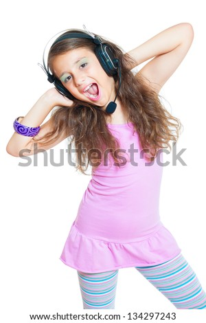 little girl with headphones isolated on white