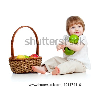 little girl with healthy food - stock photo