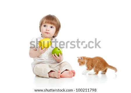 little girl with healthy food and Scottish kitten