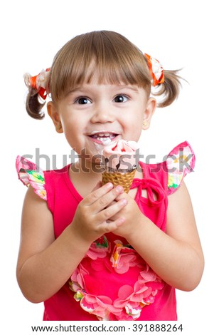 little girl with ice cream in studio isolated - stock photo