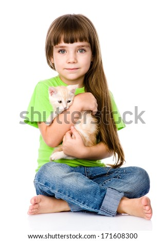 little girl with kitten. isolated on white background