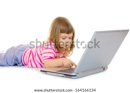 Little girl with laptop isolated - stock photo