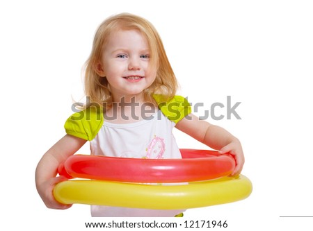 little girl with large balloons - stock photo
