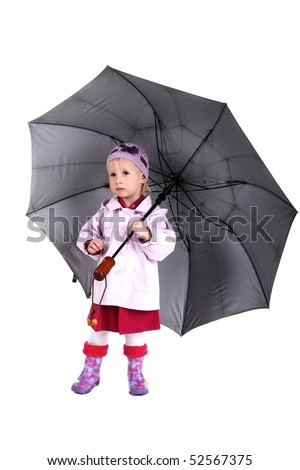 little girl with large umbrella in her hands