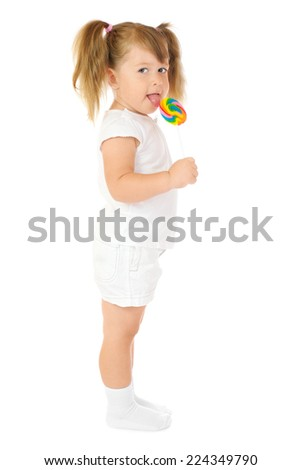 Little girl with lollipop isolated - stock photo