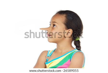Little girl with long nose thinking lies on a white background