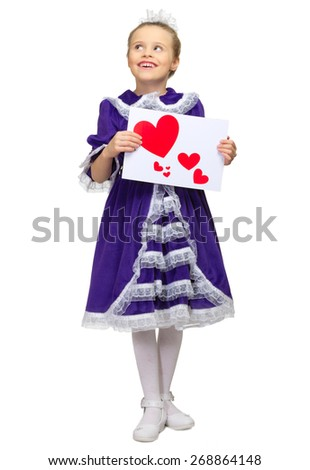 Little girl with love theme banner isolated - stock photo