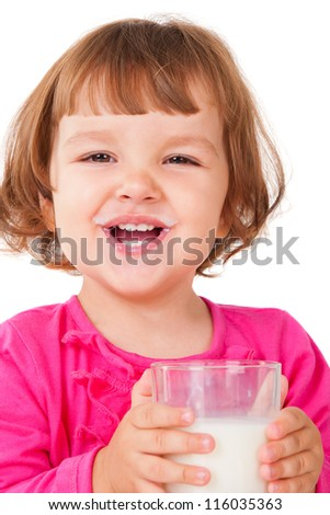 Little girl with milk, isolated on white