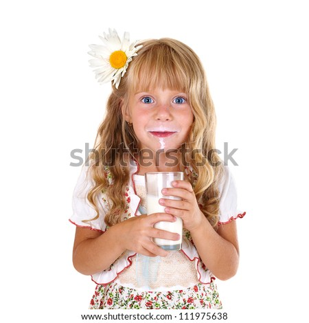 Little girl with milk mustache after drinking milk isolated on white background - stock photo