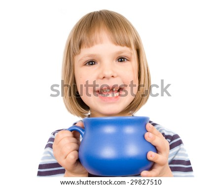 little girl with mug