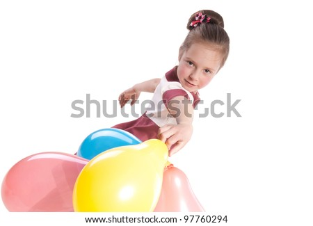 little girl with multicolored  balloons - stock photo