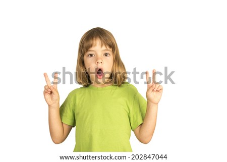 Little girl with open mouth Making Peace Sign - stock photo
