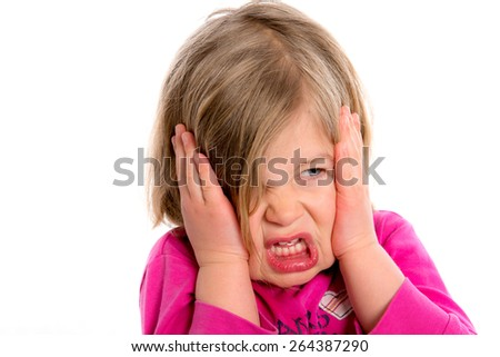little girl with pain in the head in front of white background - stock photo
