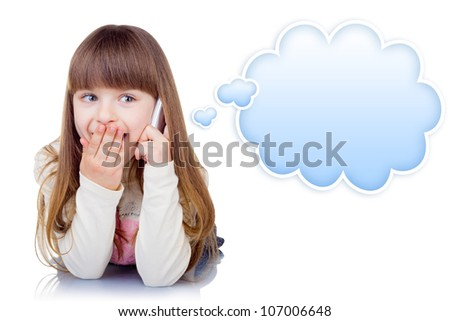 Little girl with phone isolated on white background. Blue speech bubble at the top of the photo for your text - stock photo