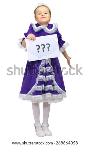 Little girl with question banner isolated - stock photo