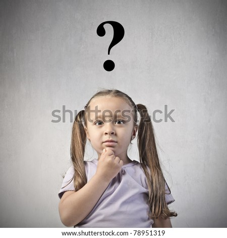 Little girl with question mark over her head