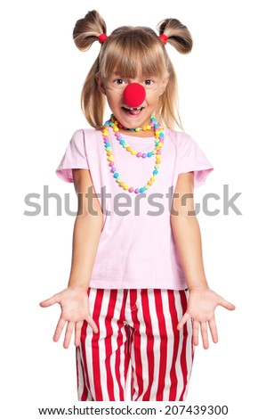 Little girl with red clown nose isolated on white background