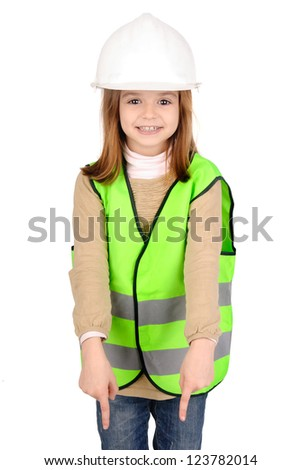 little girl with reflective vest - stock photo
