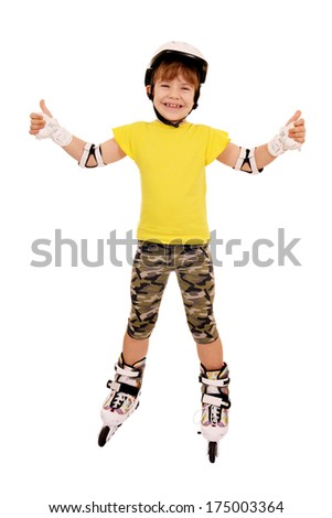 little girl with roller skates and thumbs up