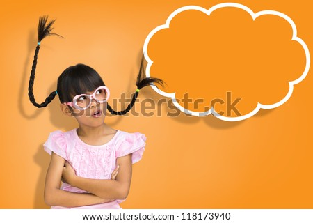 Little girl with sign blank speech bubble banner - stock photo