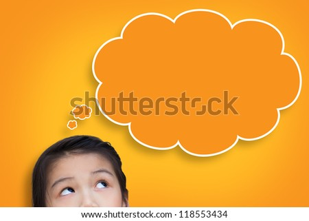 Little girl with sign blank think bubble banner - stock photo