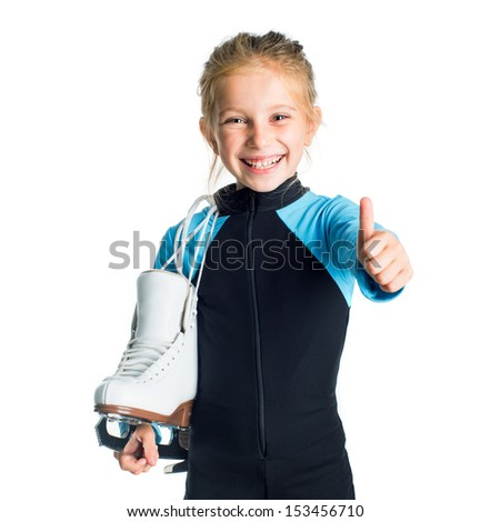 Little girl with skates isolated on white background