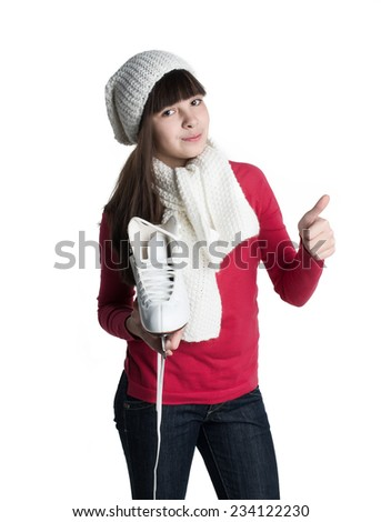 Little girl with skates isolated on white background - stock photo