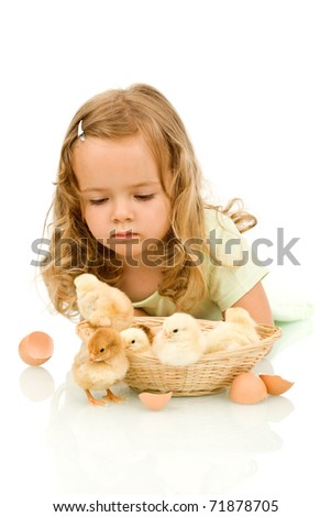 Little girl with small fluffy chickens studying them - stock photo