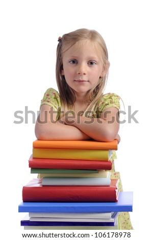little girl with stack of books. isolated on white background