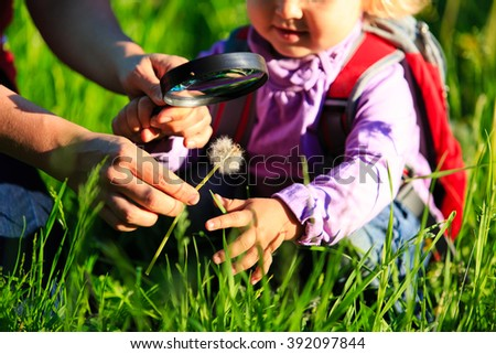 Little girl with teacher examining field flowers using magnifying glass