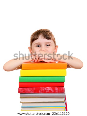 Little Girl with the Books on the White Background - stock photo