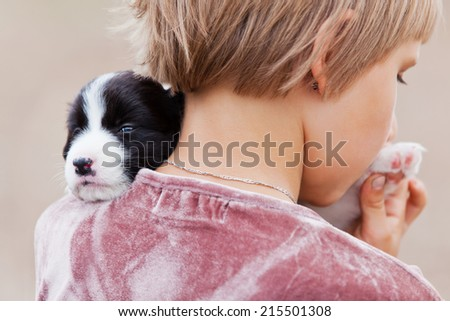 Little girl with the puppy Border Collie - stock photo