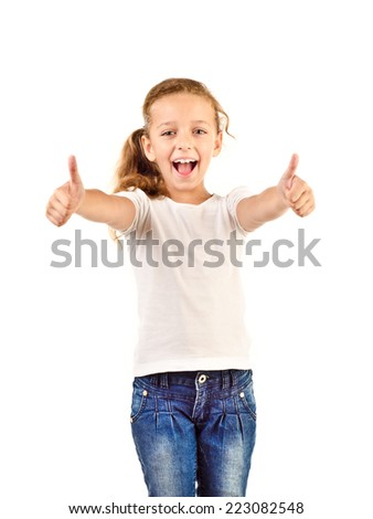 little girl with thumbs up isolated on a white background - stock photo
