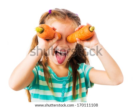 little girl with two carrots shows tongue isolated on white background - stock photo