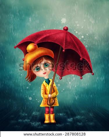 Little girl with umbrella in the rain - stock photo
