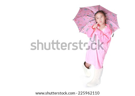 Little girl with umbrella over white background - stock photo