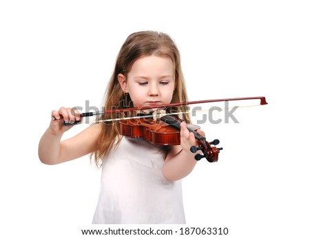little girl with violin isolated on white background - stock photo