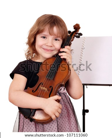 little girl with violin posing - stock photo