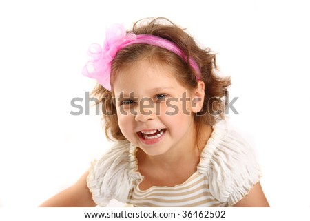 little girl 5 years isolated on a white background