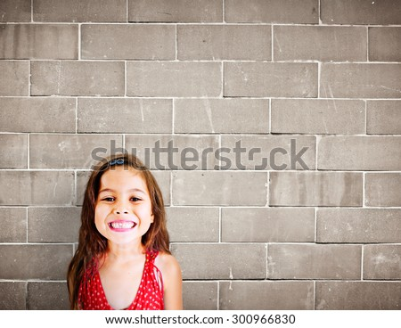 Little Girls Adorable BEautiful Cheerful Smiling Concept - stock photo