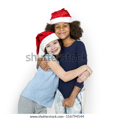 Little Girls Friends Hugging Christmas Hat