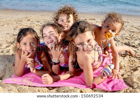 little girls on the beach