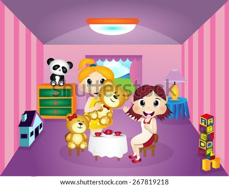 Little girls playing with Teddy Bear in her room