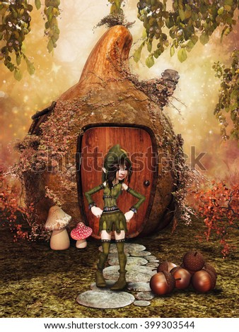 Little gnome girl in front of a fantasy gourd house, with acorns and ivy. 3D illustration.