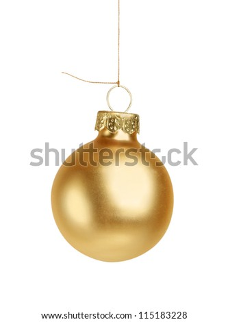 Little golden christmas ball isolated - stock photo