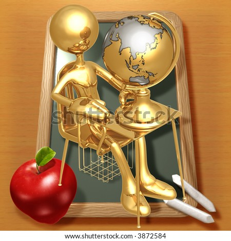 Little Golden Student With A Globe On School Desk - stock photo