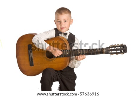little groom with guitar - stock photo